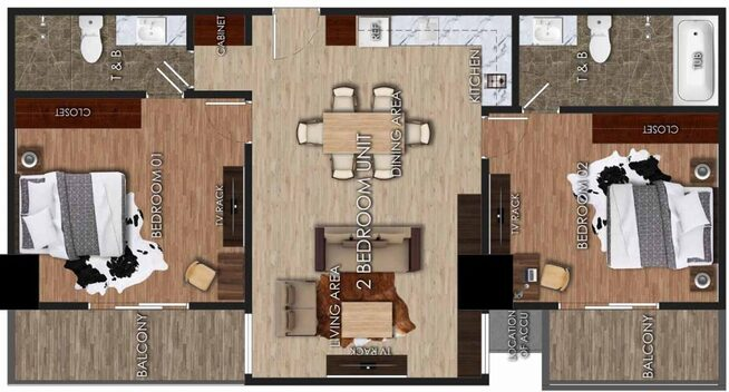 Angelic 2 Bedroom Unit Layout